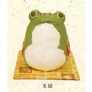 【ご紹介します!信頼の日本製!ほっこりかわいい!ちぎり和紙民芸調カエル(2色)】B.緑