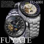 【ケース・保証書付】◆腕時計 自動巻 メタルバンド 24針 ムーンフェイス SUN&MOON ◇FU-6001
