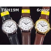 T&Hメンズ腕時計 PUレザーベルト 日本製高性能省電力ムーブメント 電池寿命4年以上