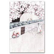 ポストカード 桜と白壁