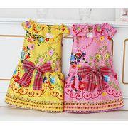 日本製 セレブスタイル 高品質ペットウェア 犬服のお花刺繍風ワンピ希少な中型犬用イエロー
