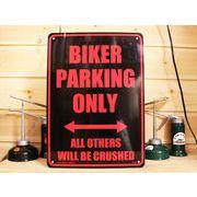 アメリカン雑貨 看板 プラスチックサインボード Biker Parking Only  CA-35
