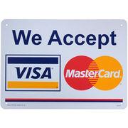 看板/プラスチックサインボード カード利用可能(ビザ&マスターカード) We Accept VISA&MasterCard CA-37