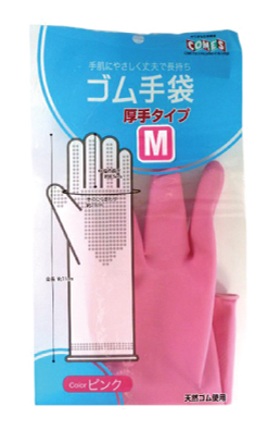 ゴム手袋厚手(M)ピンク CM-402