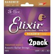 2個セット Elixir アコースティックギター弦 #16052 NANOWEB PhosphorBronze Light .012-.056