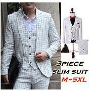 大きいサイズ・チェック柄白スリムスーツ/3ピーススーツ/1ボタン/メンズ/パーティー結婚式M~5XL