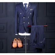 ストライプ縦縞ネイビーダブルスーツ・3点セットアップ  カジュアル/スリム ビジネス結婚式二次会