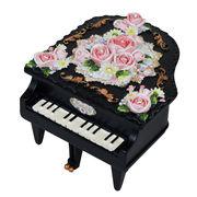 【 ミニピアノ型オルゴール (ブラック) 】  ♪ノクターン