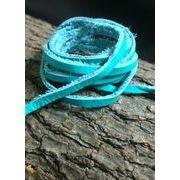 【クラフト 素材】牛革 本革 革紐 ターコイズ色 幅3mm 厚さ1.2mm 90cm