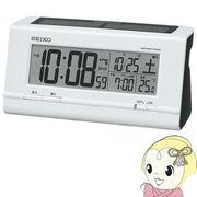 セイコークロック 目覚まし時計 ハイブリッドソーラー 電波 デジタル カレンダー・温度表示 白パール S