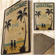 レトロ調 ★ レクトエンボスプレート Welcome to the Beach★