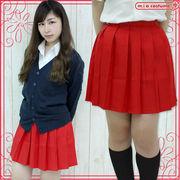 1235G■MB■送料無料■ 無地プリーツスカート単品 色:赤 サイズ:M/BIG