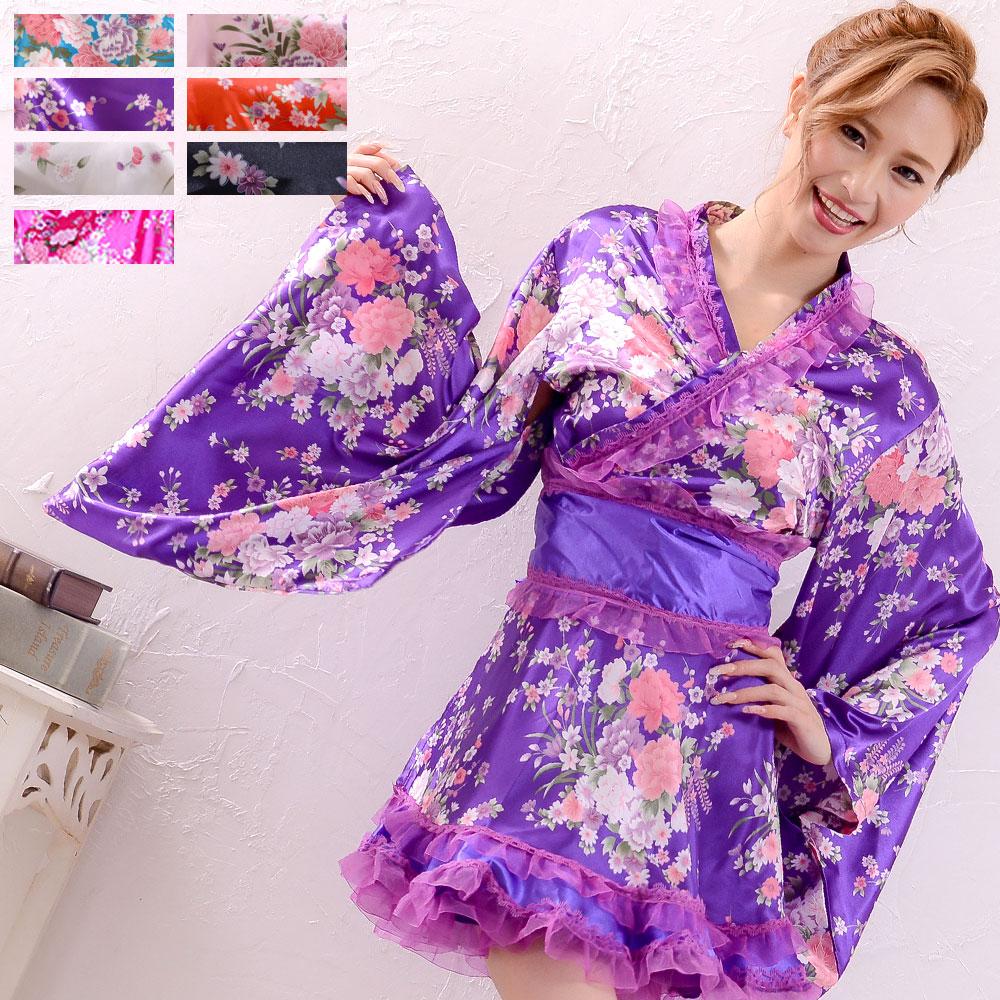 0112オーガンジーフリルサテン和柄花魁ミニ着物ドレス 和柄 衣装 よさこい 花魁 コスプレ キャバドレス