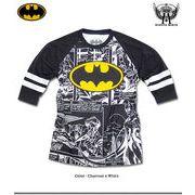 ★バットマン×ミニットマース★コミックのワンシーンを総柄プリントしたBATMANマークの7分袖Tシャツ★