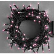 【ピンク】イルミネーションLEDライト 100球 10M ブラックコード コントローラー付き