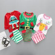 格安!!80-90-100-110-120セット★ベビー★欧米★ボーダー柄★サンタ★クリスマス★Tシャツ+ズボン