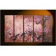 人気!5パネル 梅桜 絵画油絵風景画 壁掛けインテリア モダンアートパネル手書きの油彩
