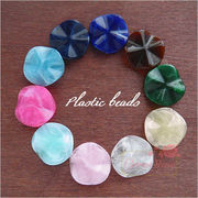 単価16.6円♪プラスチックビーズ♪マーブル♪平丸波型♪10色♪30個