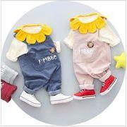 ストラップ 小さな花 パターン 子供のスーツ 子供1234歳 赤ちゃん 子供 綿 韓国 子供服