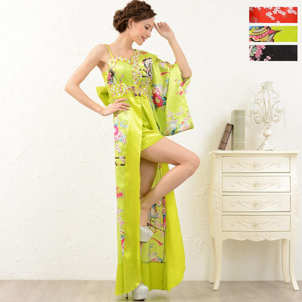 1054豪華ビジューサテン和柄ワンショルロング着物ドレス 和柄 花魁 コスプレ キャバドレス