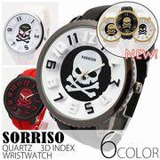 正規品SORRISOソリッソ ビッグケースに3Dインデックスとスカルデザインがインパクト大 SRF5 メンズ腕時計