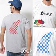 【2017SS新作】 FRUIT OF THE LOOM フルーツオブザルーム チェッカーフラッグ柄フィン Tシャツ / メンズ