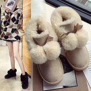 スノーブーツ 女 新しいデザイン 韓国風 毛玉 コットン靴 ウインター 裏起毛 かわいい