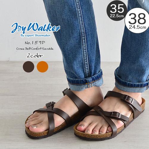 【joy walker】 レディースサイズ クロスベルト サンダル 2色