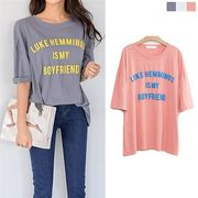 五分袖Tシャツ 体型カバー ゆったり デーリー 英文字 カットソー ルーズフィット ビンテージカラー 春 夏
