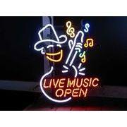 アメリカン雑貨 看板 ネオンサイン LIVE MUSIC OPEN ライブ ミュージック オープン