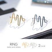 【即納】【リング】全2色!シンプルランダムウェーブメタルリング指輪[kgf0358]