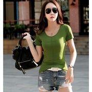 【大きいサイズS-3XL】ファッショントップス♪グリーン/パープル2色展開◆