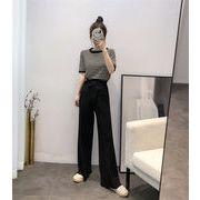 韓国ファッション  CHIC気質  新品 セット ニットトップス+ハイウエストワイドレッグパンツ  2点セット