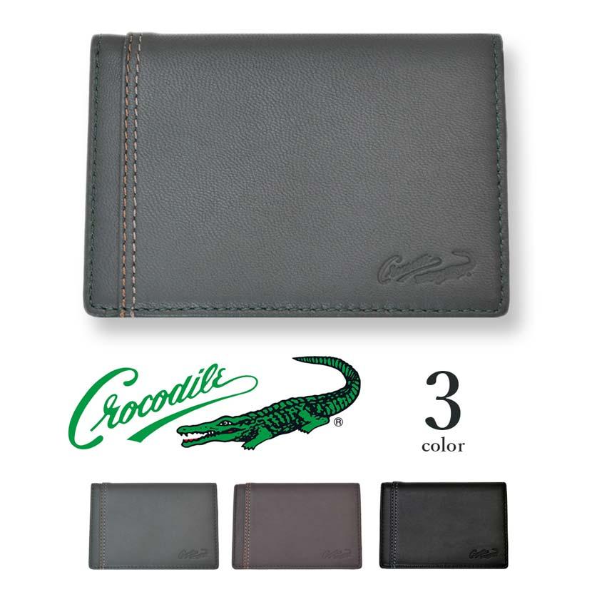 【全3色】 CROCODILE クロコダイル 名刺入れ カード入れ カードレース リアルレザー