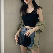 インナー 小ベスト 女 夏服 新しいデザイン 韓国風 着やせ 着やせ ボトムシャツ アウ