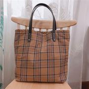 マザーズバッグ トートバッグ 手提げ袋 キャンバスバッグ お洒落なチェック型 お出かけ