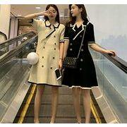 【大きいサイズM-4XL】ファッションワンピース♪ブラック/ホワイト2色展開◆