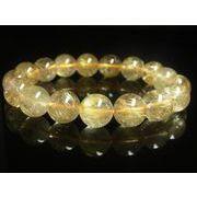 お試し価格 現品一点物 ゴールドルチル ブレスレット 金針水晶 天然石 数珠 12-13ミリ R33