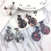 新作 ピアス アクセサリー 琥珀 レトロ 幾何 不規則 韓国 ファッション アクリル INS