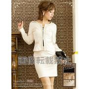 【BELSIA】風雅セレブLADYなぎっしりパール刺繍ノーカラースーツ M L ベージュ/ブラック/ホワイト