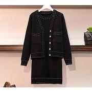 【大きいサイズL-4XL】【秋冬新作】ファッション/2枚セットワンピース