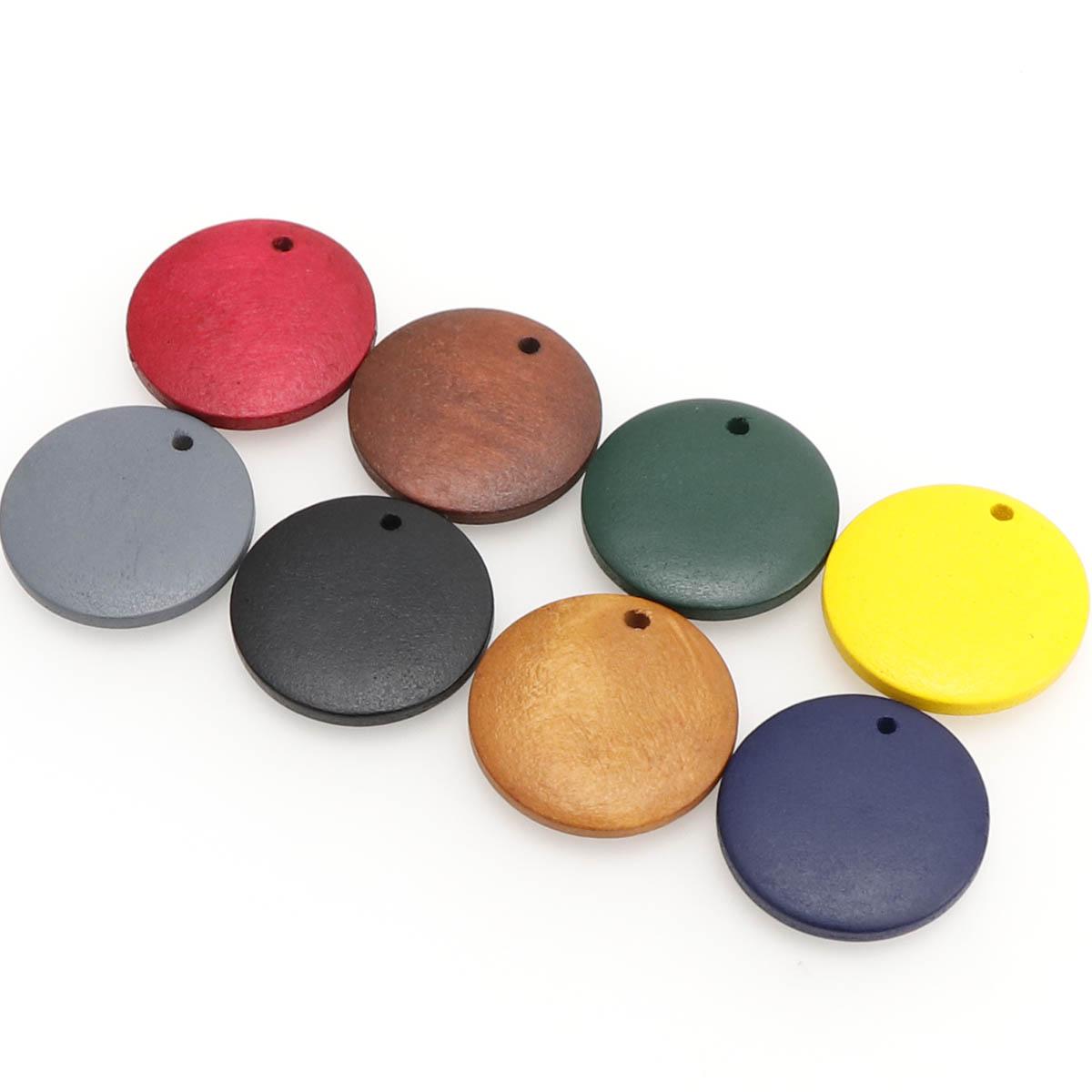 50個 円形 チャーム 木製 選べる9色 20mm DIY ピアス イヤリング アクセサリー デコパーツ