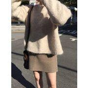 韓国 INSスタイル スウィート ラウンドネック プルオーバートップス チェック柄 スカート カレッジ風
