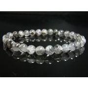 イチオシ 現品一点物 プラチナルチル ブレスレット 白金水晶 数珠 7ミリ 15g Pr55