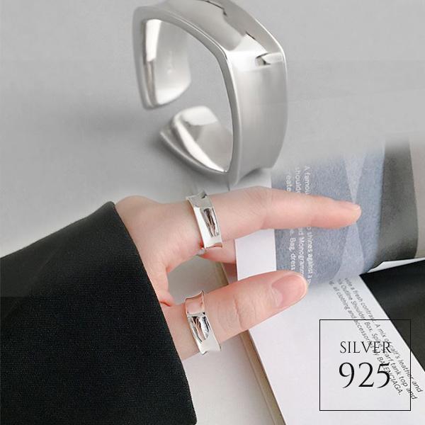 【即納】★2020春夏新作★1色 シルバー925 変形スクエアワイドオープンリング指輪 [kgf0729]