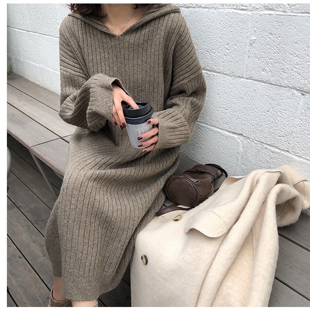 【Women】今季新作!ピットストリップフード付きロングニットセーター 全4色