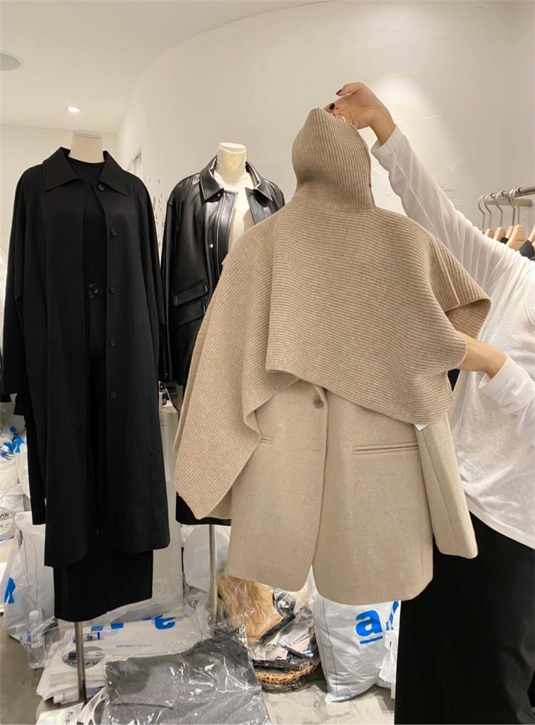週末に着たい服 自社生産 イレギュラー タートルネック ニット ストール 快適である クローク ポンチョ