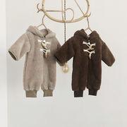 【BABY】 フード付きもこもこジッパーカバーオール!秋冬服   全2色
