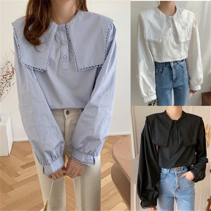 シンプル 全3色 長袖 シャツ 切り替え 体型カバー 小さい新鮮な スリム sweet系