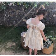 キッズ春夏 女の子 ゆったりワンピ  シフトドレス ワンピース レースアップ 半袖スカート子供服 7-15